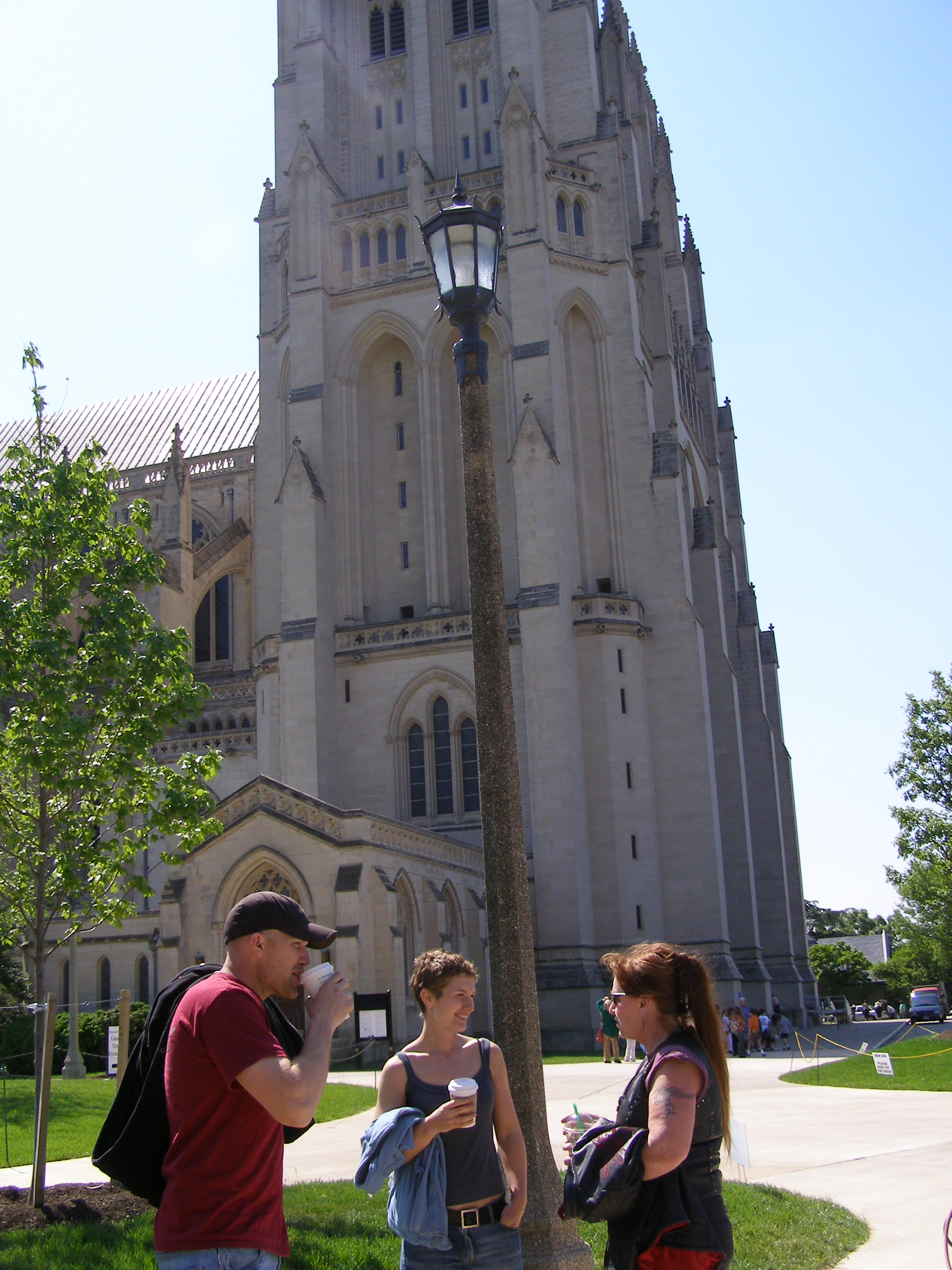Blacksmith Days Demonstrators Jake Hill, Becky Little and Dorothy Stiegler Outside Cathedral before Tour